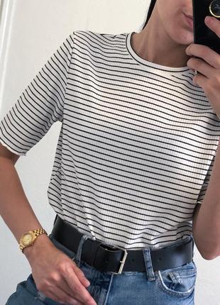 Стильная плотная футболка тельняшка в рубчик
