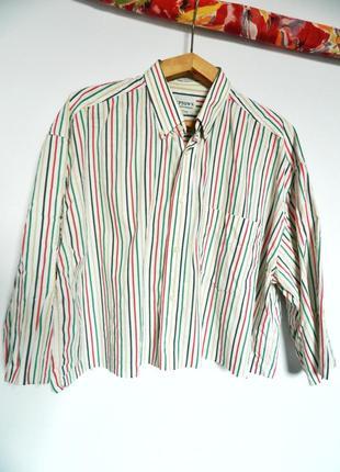 Натуральная обрезанная короткая рубашка на лето в полоску