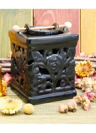 Черная аромалампа керамическая колодец с розами