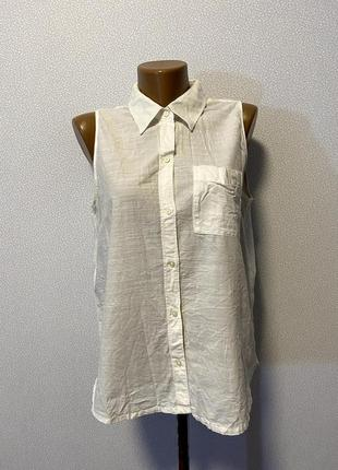 Белая хлопковая рубашка без рукавов дорого бренд / большая распродажа!