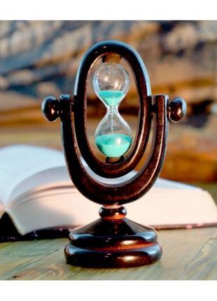 Песочные часы овал в деревянном корпусе 3 минуты