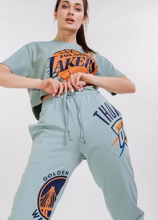 Спортивный костюм джоггеры + укороченная футболка, мята