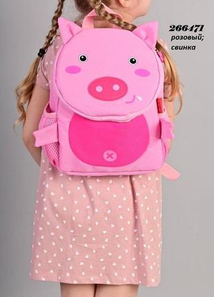 Рюкзак детский розовая свинка с поводком