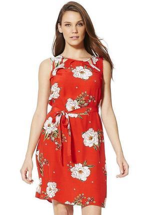 Красное платье в цветы с воланами f&f размер 12/14