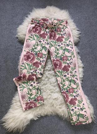 Домашние пижамные натуральные штаны хлопок цветочный принт