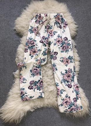 Домашние натуральные пижамные штаны цветочный принт хлопок