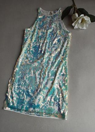 Очень красивое нарядное платье в паетки.next.