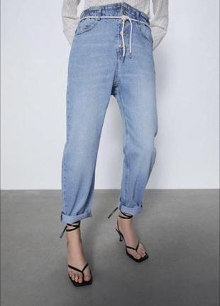 Стильные джинсы багги с высокой талией и поясом zara