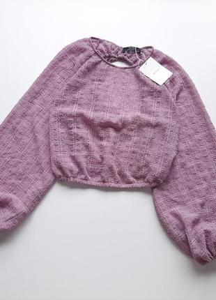 Блуза трендова волан рукав бузкового кольору bershka