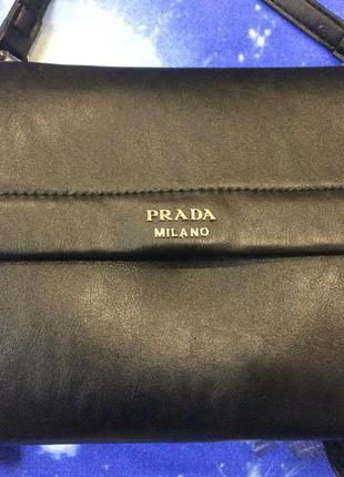 Маленькая двухсторонняя сумочка (клатч, кросс боди) черного цвета с длинной ручкой