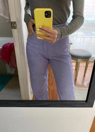 Широкие вельветовые джинсы на высокой талии