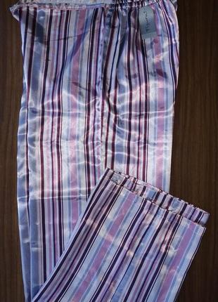 Женские как шёлковые пижамные широкие штаны в полоску