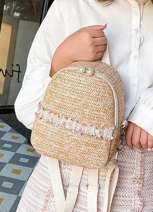 Женский соломенный мини рюкзак сумка 2в1/рюкзак из соломы.