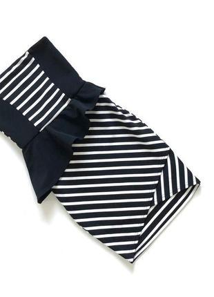 Стильное черно-белое платье в полоску приталеное asos  размер xs, s