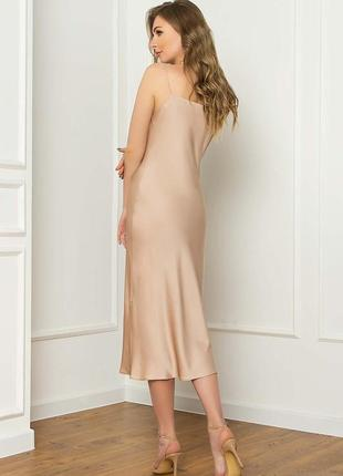 Плаття комбінація \ сукня \ платье-комбинация из шелка длиной миди в бельевом стиле4 фото