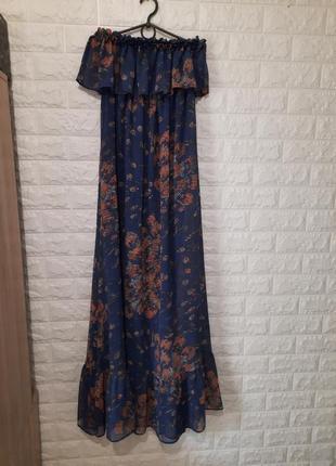Шифоновое платье, cинее платье
