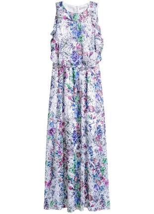 Комбинированное шифоновое платье с цветочным принтом