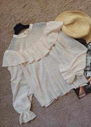 Шикарная актуальная блузка с воланами/блуза/кофточка