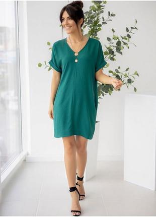 Платье туника изумрудного цвета, платье короткое с карманами, жіноча літня сукня