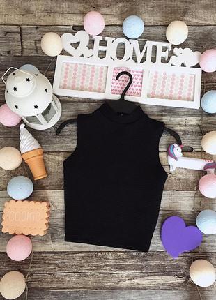 Стильный чёрный кроп-топ бренда new look
