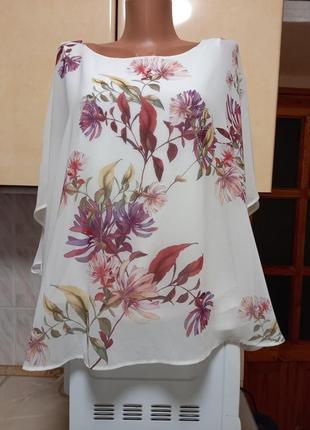 Новая блуза на майке бохо оверсайз этикетка батал пог 82 поб74