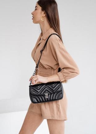 Черный клатч стеганый клатч с цепочкой наплечная черная стеганая сумка на цепочке кросс боди