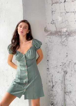 Платье льняное на пуговицах4 фото
