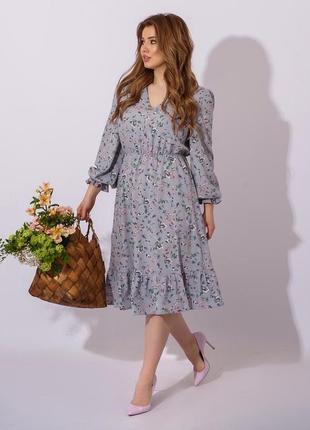 Женское платье, платье в цветочек, платье миди