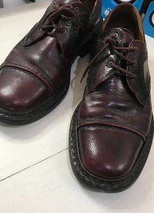 Мужские кожаные ботинки туфли с мощной подошвой небольшим каблуком темные бордовые   30 см 46 размер