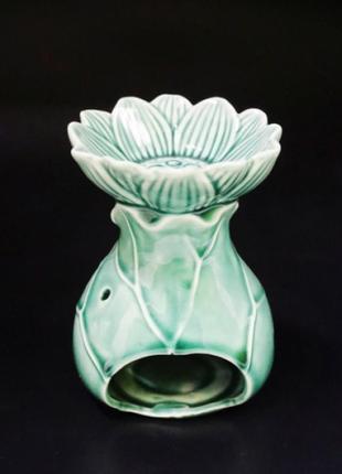 Аромалампа лотос керамика изумруд