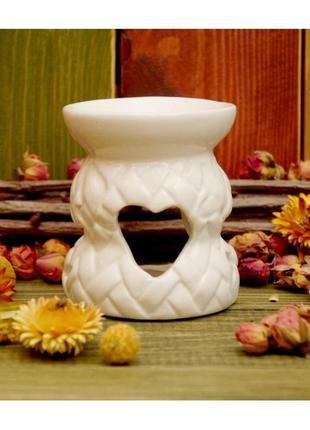 Аромалампа керамическая плетёнка белая
