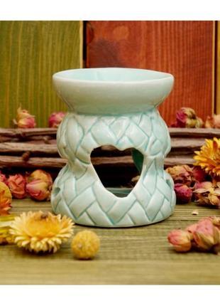 Голубая аромалампа плетенка керамическая