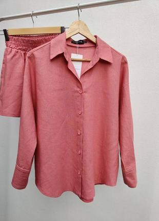 Летний  льняной легкий однотонный  розовый малиновый костюм ♥️
