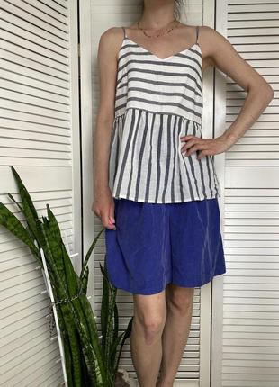 Майка блуза в морском стиле на тонких бретельках серо-белая vero moda