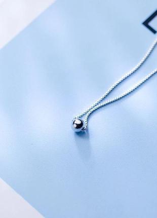 Серебряная цепочка подвеска бусина чокер колье срібний ланцюжок підвіс
