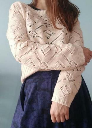 Молочний в'язаний легкий светр yessica size s/m