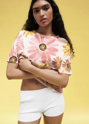 Футболка zara, футболка хлопок, футболка с принтом, футболка с цветами