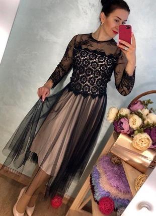 Фатиновое кружевное вечернее платье миди