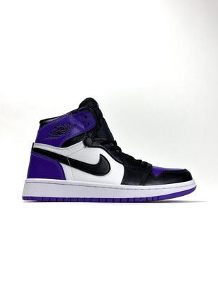Кроссовки nike air jordan 1 white violet