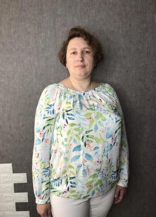 Легкая летняя нарядная рубашка блуза блузка в яркий принт