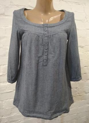 Красивая блуза рубашка котоновая под джинс h&m, р. 34. замеры на фото