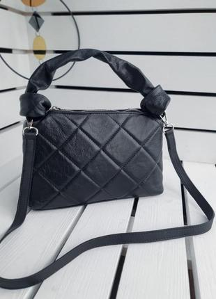Итальянская кожаная сумка женская черная с ручками на молнии через плечо летняя/осенняя/весенняя