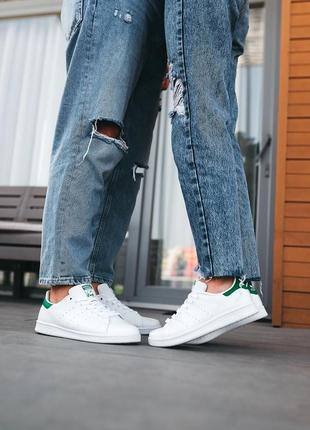 Женские, мужские кроссовки adidas stan smith «white/green»