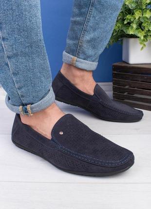 🌿 мужские тёмно-синие туфли эко-кожа