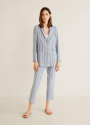 Пиджак/блейзер mango, льняной пиджак, костюм mango