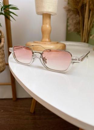 Имиджевые солнцезащитные очки люкс качества прозрачные с градиентом с розовыми линзами стёклами в металлической оправе