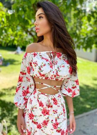 Летний костюм юбка миди и топ на завязках в цветочный принт