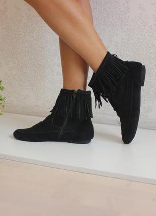 Замшевые ботинки полусапожки с бахромой, бренд janet d