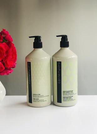 Набір для надання об'єму з олією обліпихи та огірком barex italiana contempora fine hair volumizin