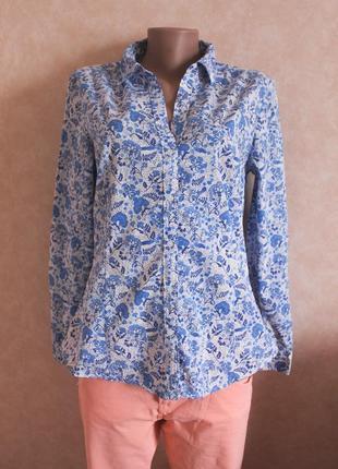 Хлопковая рубашка белая, синий орнамент  l